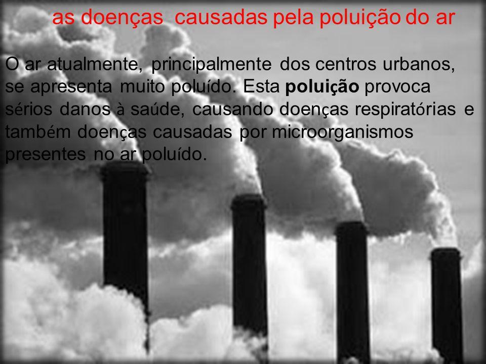 as doenças causadas pela poluição do ar O ar atualmente, principalmente dos centros urbanos, se apresenta muito polu í do. Esta polui ç ão provoca s é