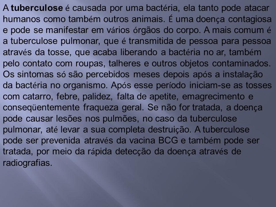 A tuberculose é causada por uma bact é ria, ela tanto pode atacar humanos como tamb é m outros animais. É uma doen ç a contagiosa e pode se manifestar