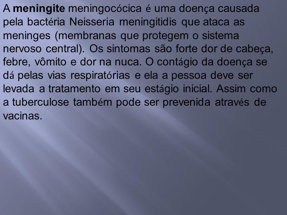 A meningite meningoc ó cica é uma doen ç a causada pela bact é ria Neisseria meningitidis que ataca as meninges (membranas que protegem o sistema nerv