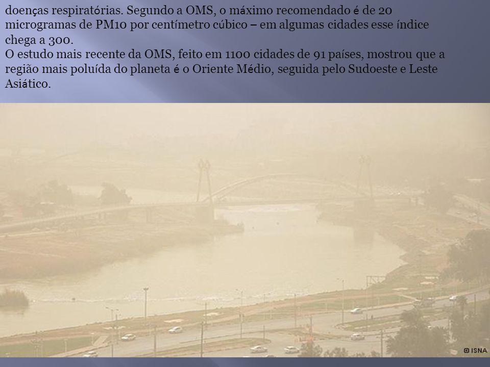 doen ç as respirat ó rias. Segundo a OMS, o m á ximo recomendado é de 20 microgramas de PM10 por cent í metro c ú bico – em algumas cidades esse í ndi