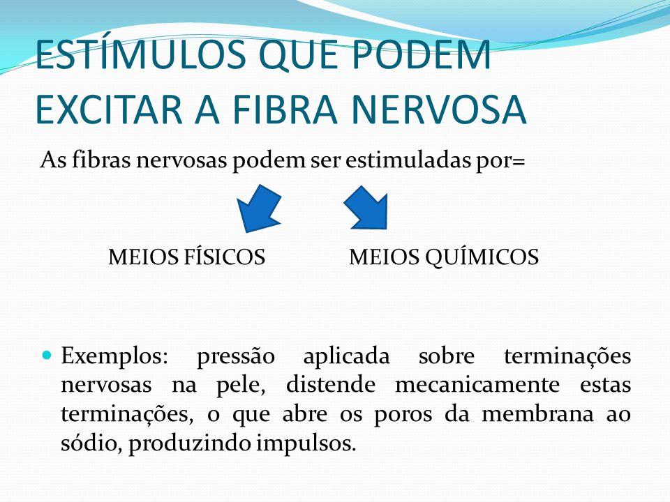 ESTÍMULOS QUE PODEM EXCITAR A FIBRA NERVOSA As fibras nervosas podem ser estimuladas por= MEIOS FÍSICOS MEIOS QUÍMICOS Exemplos: pressão aplicada sobr