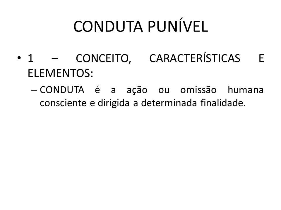 CONDUTA PUNÍVEL 1 – CONCEITO, CARACTERÍSTICAS E ELEMENTOS: – CONDUTA é a ação ou omissão humana consciente e dirigida a determinada finalidade.