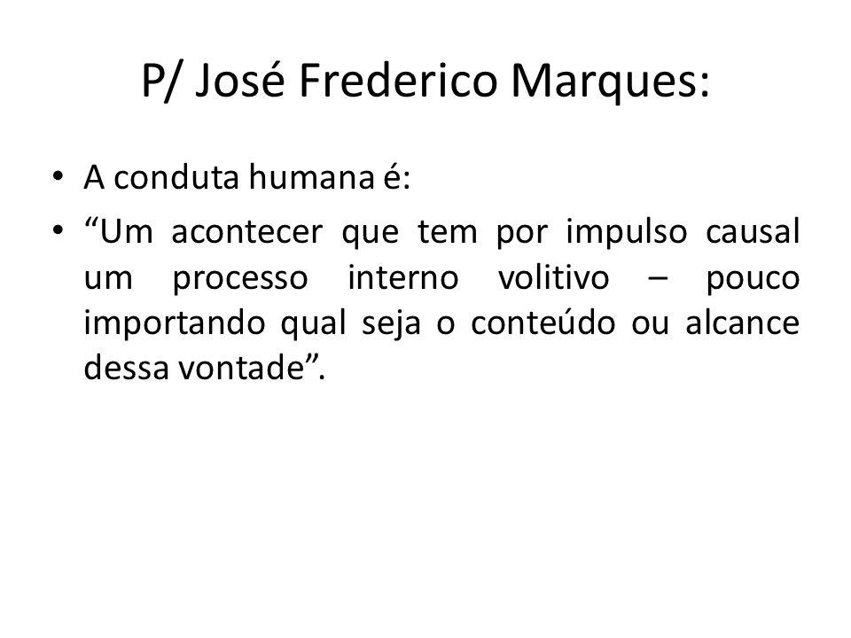 P/ José Frederico Marques: A conduta humana é: Um acontecer que tem por impulso causal um processo interno volitivo – pouco importando qual seja o con