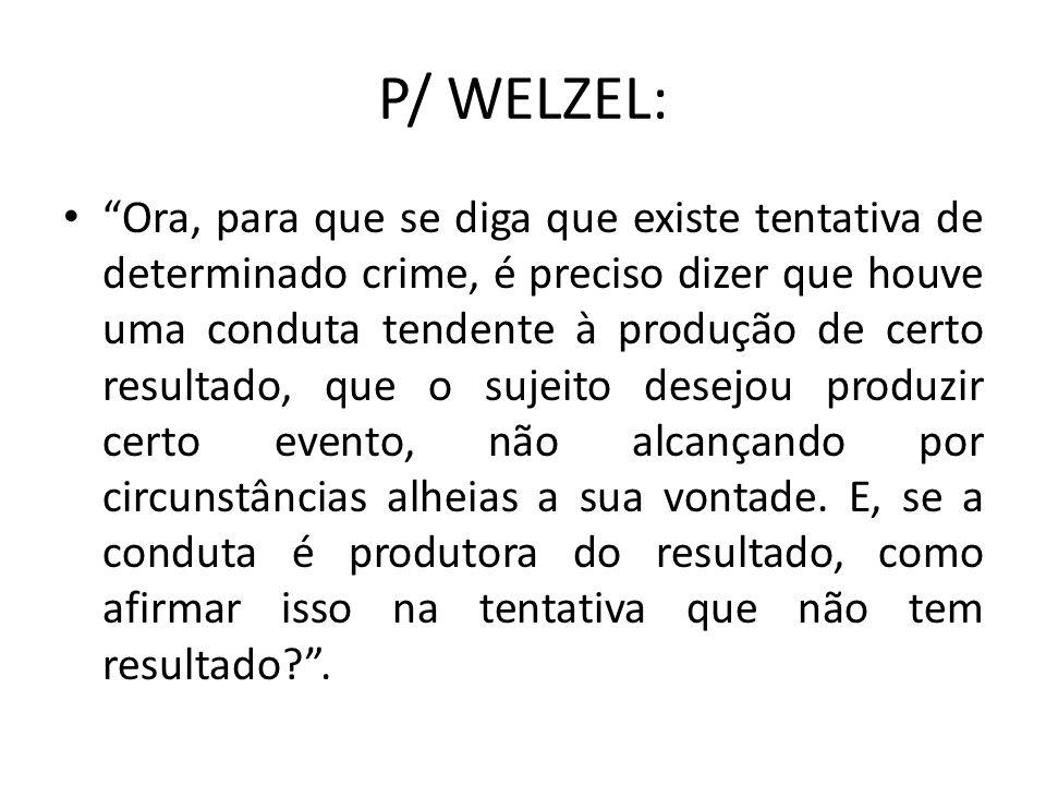 P/ WELZEL: Ora, para que se diga que existe tentativa de determinado crime, é preciso dizer que houve uma conduta tendente à produção de certo resulta