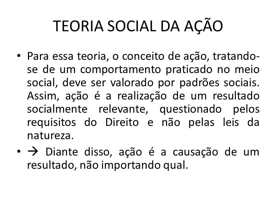 TEORIA SOCIAL DA AÇÃO Para essa teoria, o conceito de ação, tratando- se de um comportamento praticado no meio social, deve ser valorado por padrões s