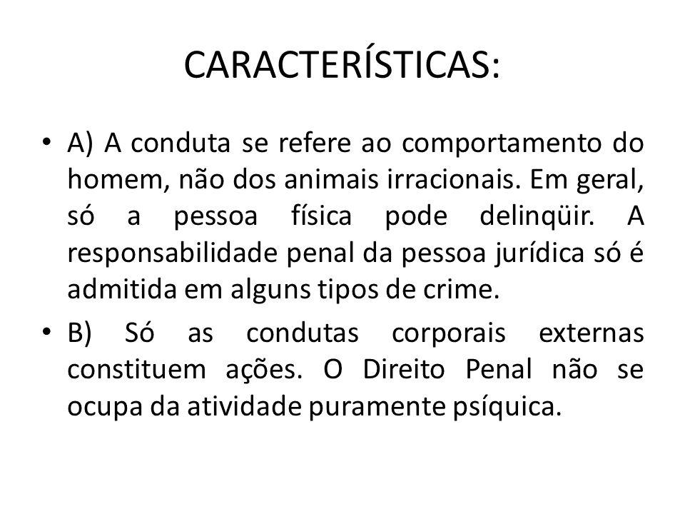 CARACTERÍSTICAS: A) A conduta se refere ao comportamento do homem, não dos animais irracionais. Em geral, só a pessoa física pode delinqüir. A respons