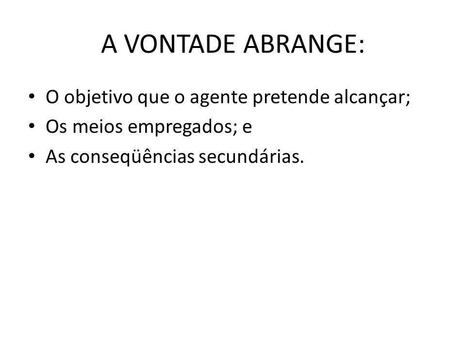 A VONTADE ABRANGE: O objetivo que o agente pretende alcançar; Os meios empregados; e As conseqüências secundárias.