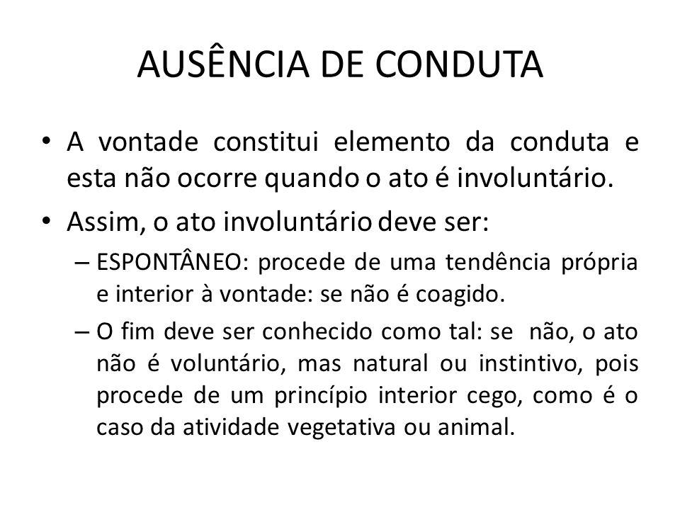 AUSÊNCIA DE CONDUTA A vontade constitui elemento da conduta e esta não ocorre quando o ato é involuntário. Assim, o ato involuntário deve ser: – ESPON
