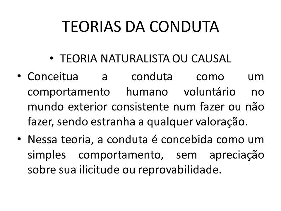 A conduta é um puro fator de causalidade.Conduta – efeito da vontade – causa do resultado:.