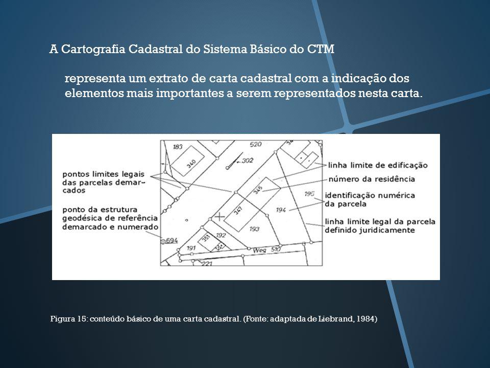 A Cartografia Cadastral do Sistema Básico do CTM Figura 15: conteúdo básico de uma carta cadastral. (Fonte: adaptada de Liebrand, 1984) representa um