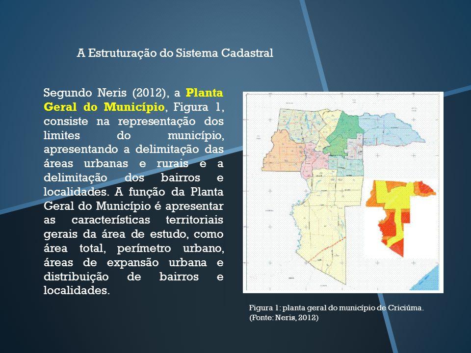 A Estruturação do Sistema Cadastral Segundo Neris (2012), a Planta Geral do Município, Figura 1, consiste na representação dos limites do município, a
