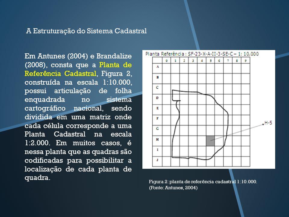 Figura 2: planta de referência cadastral 1:10.000. (Fonte: Antunes, 2004) Em Antunes (2004) e Brandalize (2008), consta que a Planta de Referência Cad