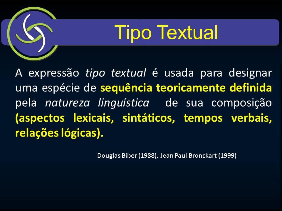 Tipo Textual A expressão tipo textual é usada para designar uma espécie de sequência teoricamente definida pela natureza linguística de sua composição (aspectos lexicais, sintáticos, tempos verbais, relações lógicas).