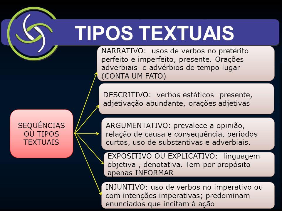 TIPOS TEXTUAIS SEQUÊNCIAS OU TIPOS TEXTUAIS NARRATIVO: usos de verbos no pretérito perfeito e imperfeito, presente.