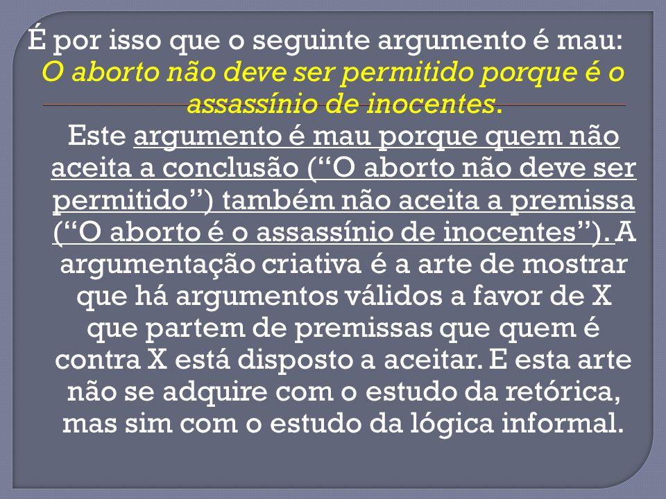 É por isso que o seguinte argumento é mau: O aborto não deve ser permitido porque é o assassínio de inocentes. Este argumento é mau porque quem não ac