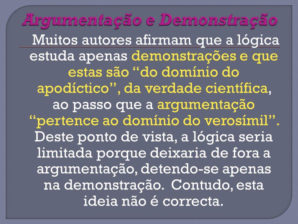 Muitos autores afirmam que a lógica estuda apenas demonstrações e que estas são do domínio do apodíctico, da verdade científica, ao passo que a argumentação pertence ao domínio do verosímil.