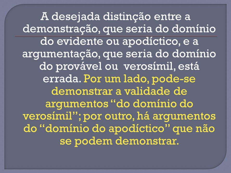 A desejada distinção entre a demonstração, que seria do domínio do evidente ou apodíctico, e a argumentação, que seria do domínio do provável ou verosímil, está errada.