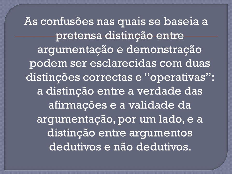 As confusões nas quais se baseia a pretensa distinção entre argumentação e demonstração podem ser esclarecidas com duas distinções correctas e operativas: a distinção entre a verdade das afirmações e a validade da argumentação, por um lado, e a distinção entre argumentos dedutivos e não dedutivos.