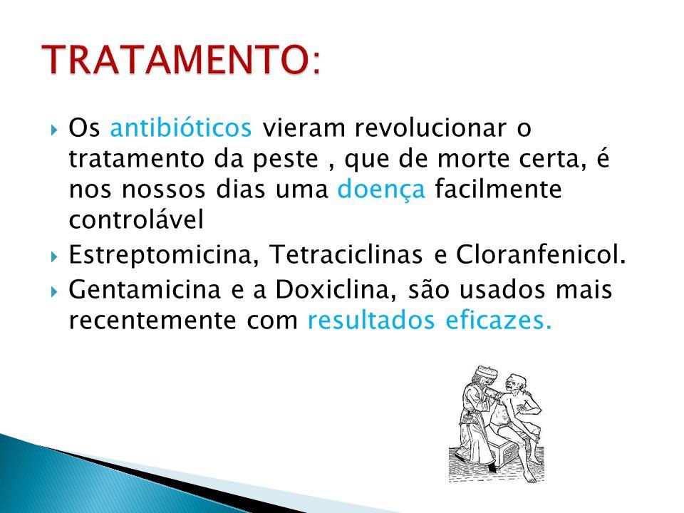 Os antibióticos vieram revolucionar o tratamento da peste, que de morte certa, é nos nossos dias uma doença facilmente controlável Estreptomicina, Tet