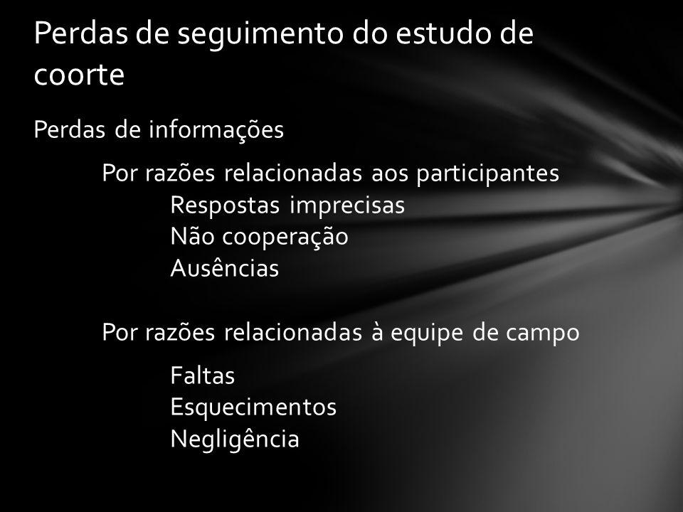 Perdas de seguimento do estudo de coorte Perdas de informações Por razões relacionadas aos participantes Respostas imprecisas Não cooperação Ausências