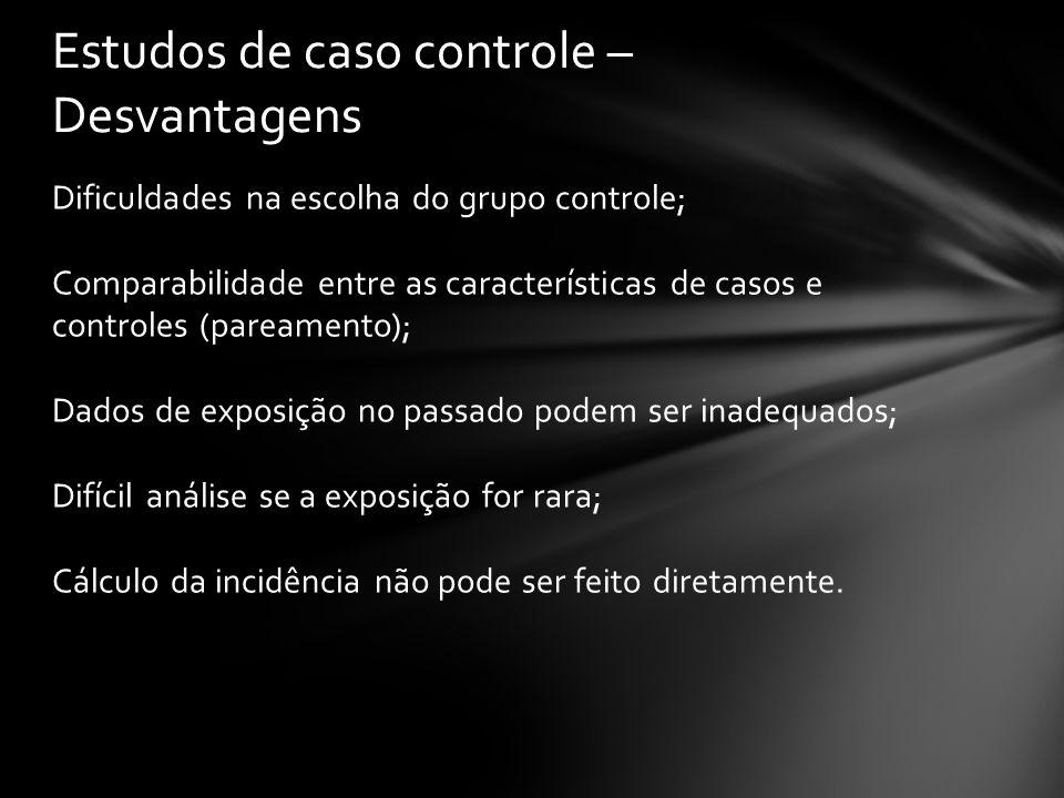 Dificuldades na escolha do grupo controle; Comparabilidade entre as características de casos e controles (pareamento); Dados de exposição no passado p