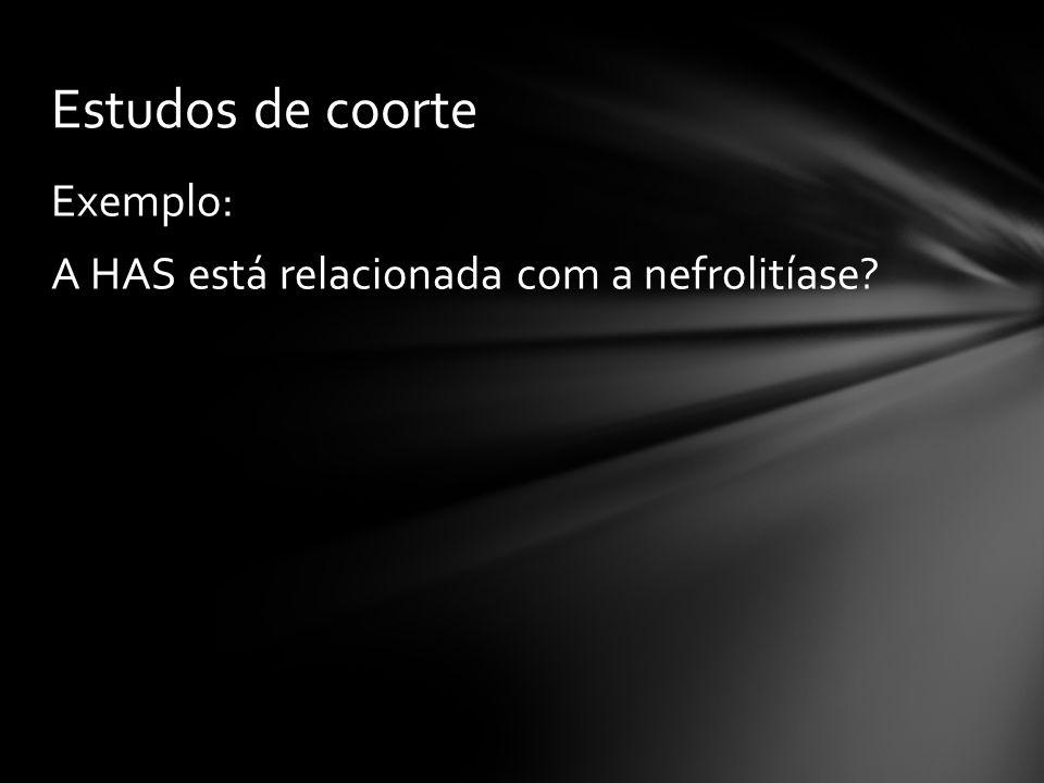 Exemplo: A HAS está relacionada com a nefrolitíase? Estudos de coorte