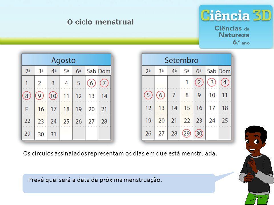 Calcula, em média, quantos dias tem cada ciclo menstrual. O ciclo menstrual Os círculos assinalados representam os dias em que está menstruada. Indica