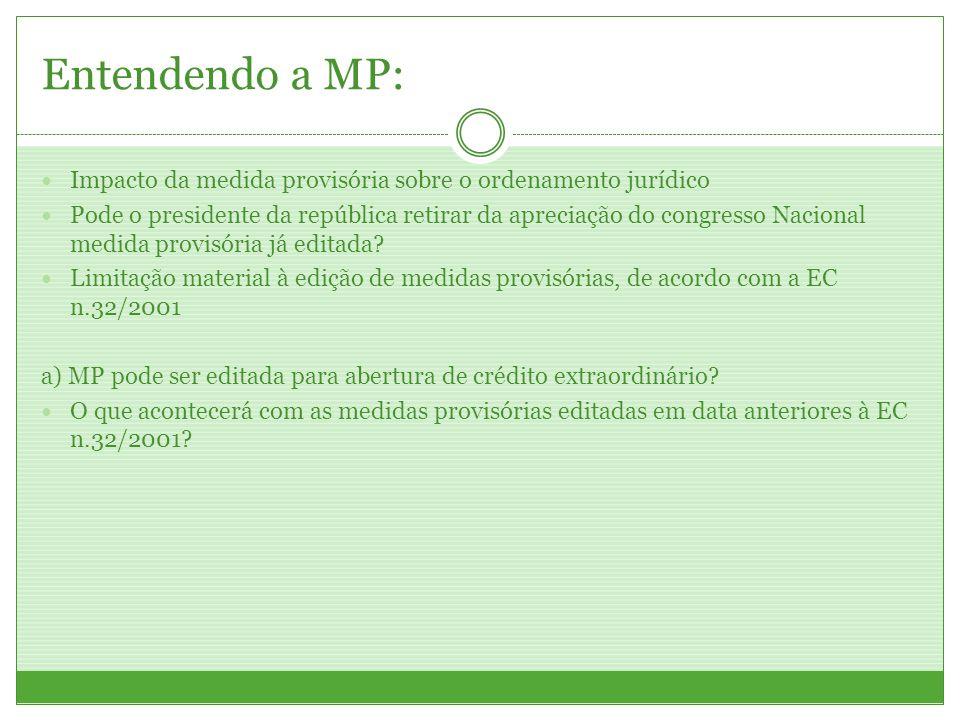 Entendendo a MP: Impacto da medida provisória sobre o ordenamento jurídico Pode o presidente da república retirar da apreciação do congresso Nacional