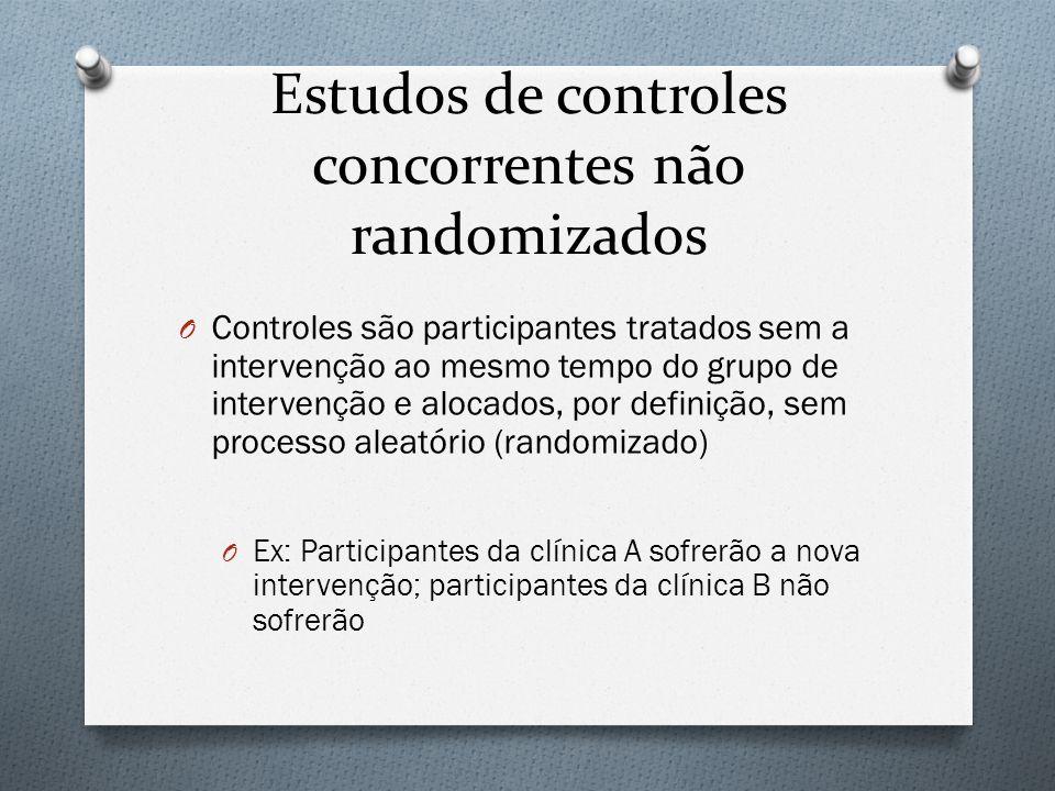 Estudos de controles concorrentes não randomizados O Controles são participantes tratados sem a intervenção ao mesmo tempo do grupo de intervenção e a
