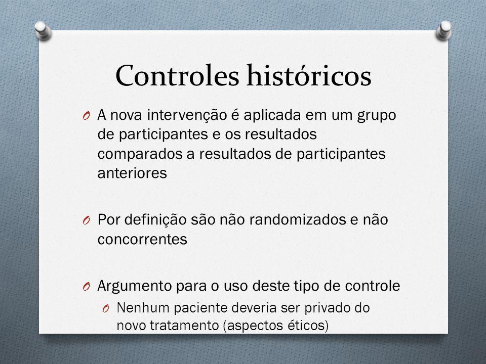 Controles históricos O A nova intervenção é aplicada em um grupo de participantes e os resultados comparados a resultados de participantes anteriores