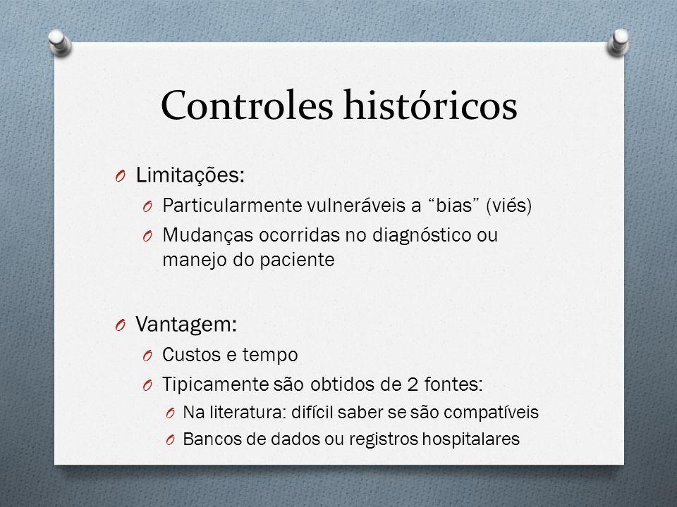 Controles históricos O Limitações: O Particularmente vulneráveis a bias (viés) O Mudanças ocorridas no diagnóstico ou manejo do paciente O Vantagem: O