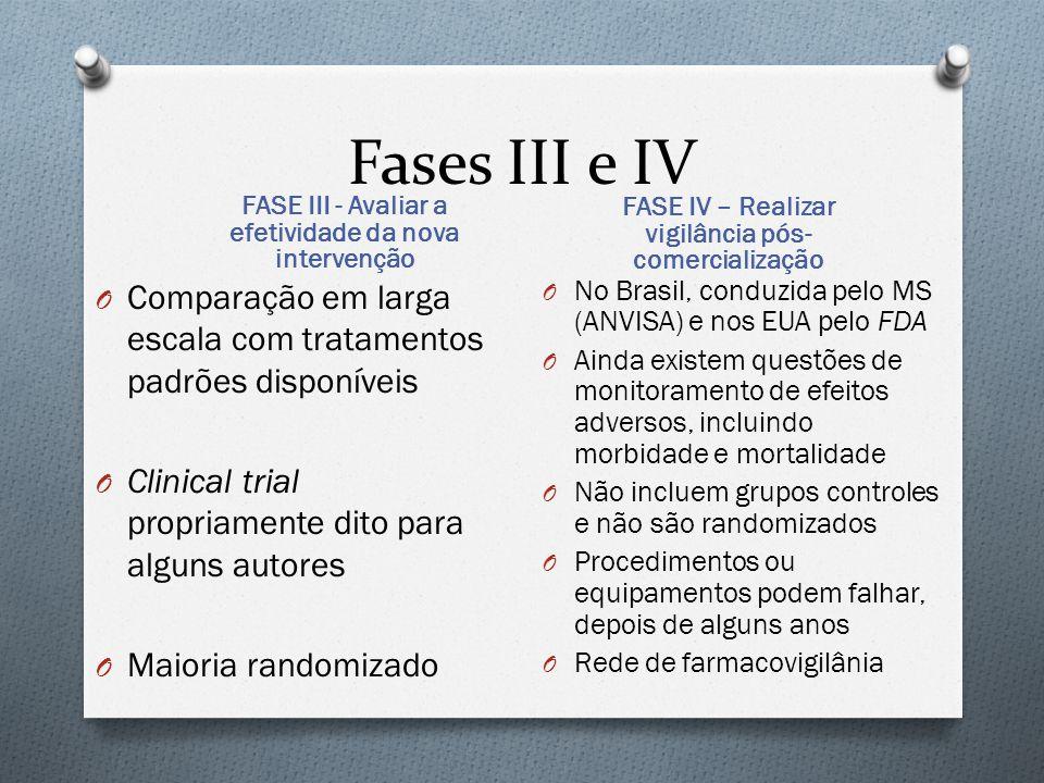 Fases III e IV O Comparação em larga escala com tratamentos padrões disponíveis O Clinical trial propriamente dito para alguns autores O Maioria rando