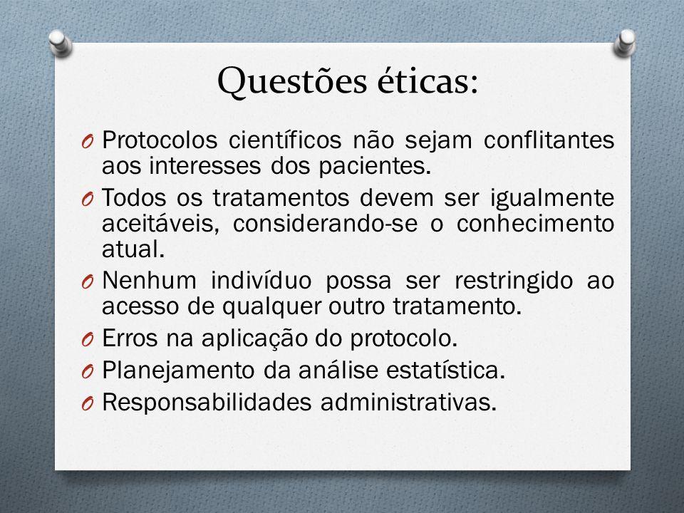 Questões éticas: O Protocolos científicos não sejam conflitantes aos interesses dos pacientes. O Todos os tratamentos devem ser igualmente aceitáveis,