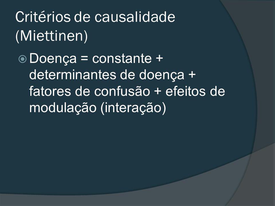 Critérios de causalidade (Miettinen) Doença = constante + determinantes de doença + fatores de confusão + efeitos de modulação (interação)