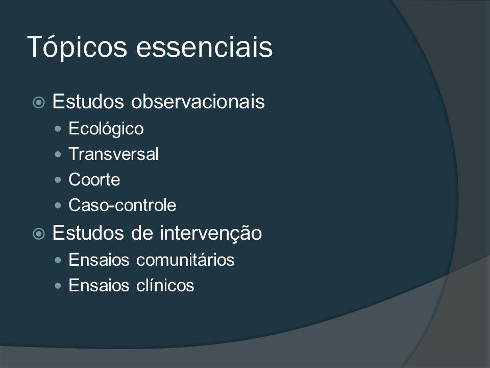 Tópicos essenciais Estudos observacionais Ecológico Transversal Coorte Caso-controle Estudos de intervenção Ensaios comunitários Ensaios clínicos