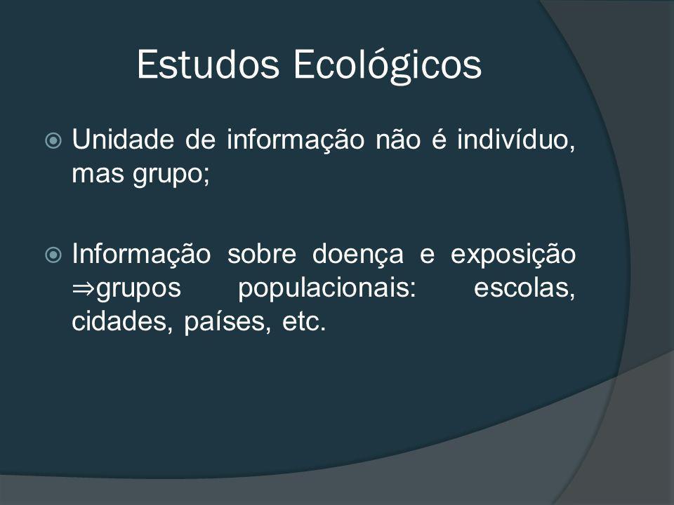 Unidade de informação não é indivíduo, mas grupo; Informação sobre doença e exposição grupos populacionais: escolas, cidades, países, etc.