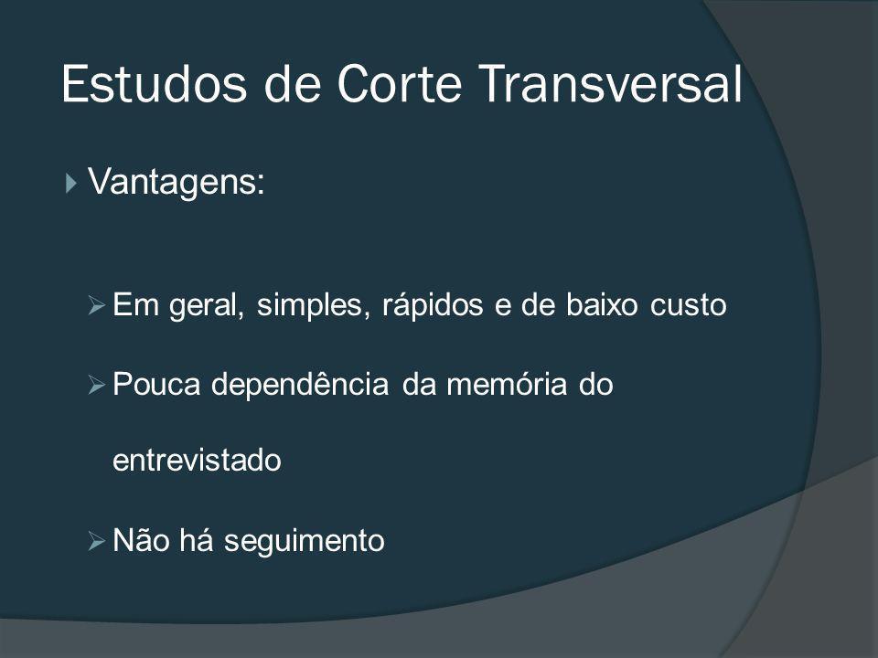 Vantagens: Em geral, simples, rápidos e de baixo custo Pouca dependência da memória do entrevistado Não há seguimento Estudos de Corte Transversal