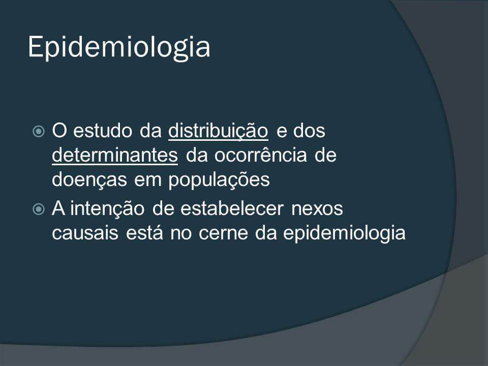 Epidemiologia O estudo da distribuição e dos determinantes da ocorrência de doenças em populações A intenção de estabelecer nexos causais está no cerne da epidemiologia