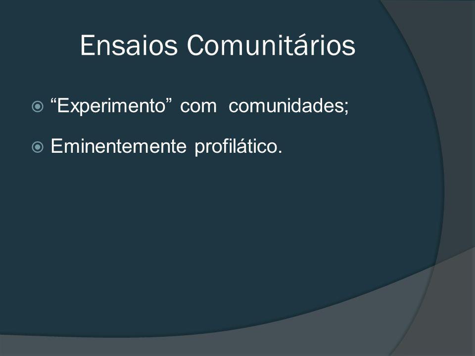 Experimento com comunidades; Eminentemente profilático. Ensaios Comunitários