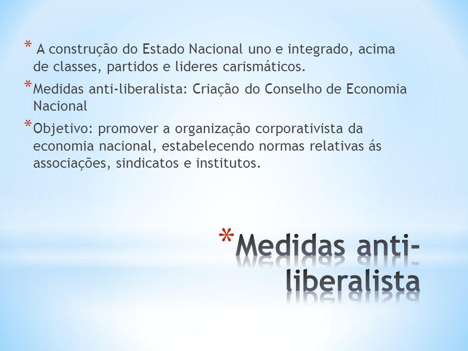 * A construção do Estado Nacional uno e integrado, acima de classes, partidos e lideres carismáticos. * Medidas anti-liberalista: Criação do Conselho