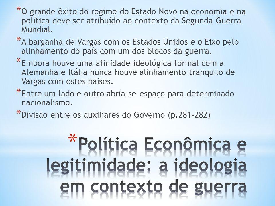 * O grande êxito do regime do Estado Novo na economia e na política deve ser atribuído ao contexto da Segunda Guerra Mundial. * A barganha de Vargas c