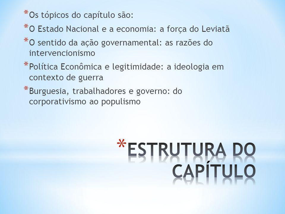 * Os tópicos do capítulo são: * O Estado Nacional e a economia: a força do Leviatã * O sentido da ação governamental: as razões do intervencionismo *