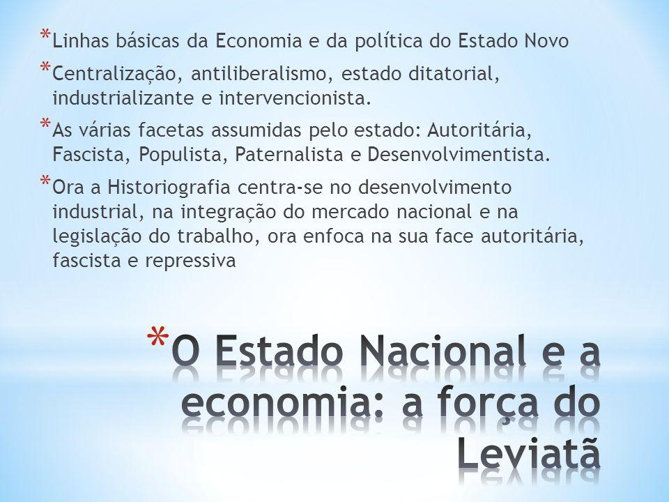 * Linhas básicas da Economia e da política do Estado Novo * Centralização, antiliberalismo, estado ditatorial, industrializante e intervencionista. *