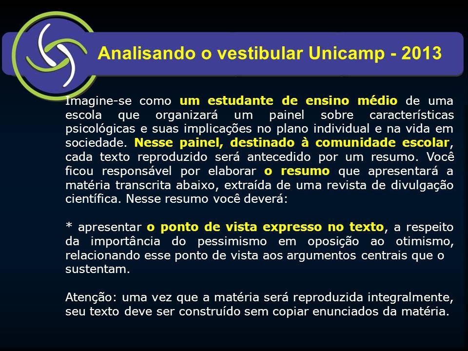 Analisando o vestibular Unicamp - 2013 Imagine-se como um estudante de ensino médio de uma escola que organizará um painel sobre características psicológicas e suas implicações no plano individual e na vida em sociedade.