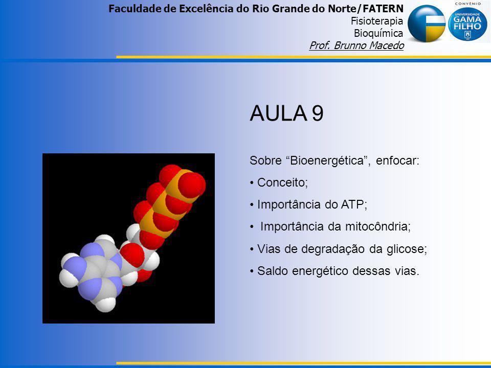 Faculdade de Excelência do Rio Grande do Norte/FATERN Fisioterapia Bioquímica Prof. Brunno Macedo AULA 9 Sobre Bioenergética, enfocar: Conceito; Impor