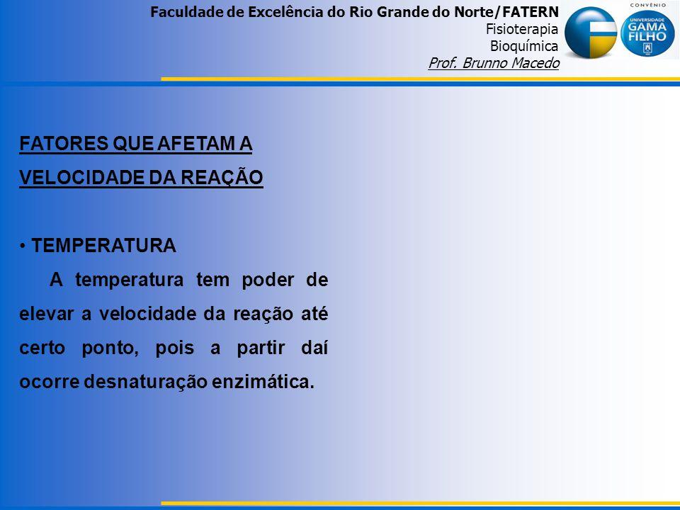Faculdade de Excelência do Rio Grande do Norte/FATERN Fisioterapia Bioquímica Prof. Brunno Macedo FATORES QUE AFETAM A VELOCIDADE DA REAÇÃO TEMPERATUR