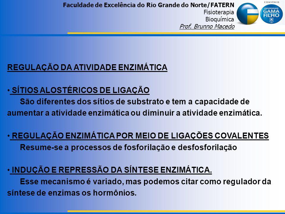 Faculdade de Excelência do Rio Grande do Norte/FATERN Fisioterapia Bioquímica Prof. Brunno Macedo REGULAÇÃO DA ATIVIDADE ENZIMÁTICA SÍTIOS ALOSTÉRICOS