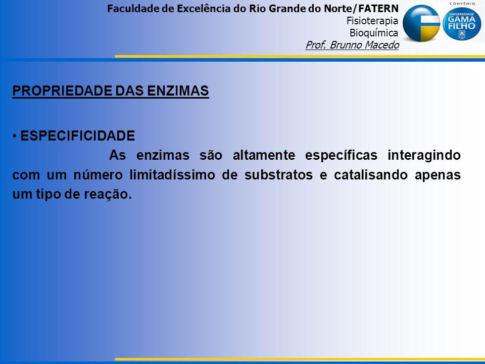 Faculdade de Excelência do Rio Grande do Norte/FATERN Fisioterapia Bioquímica Prof. Brunno Macedo PROPRIEDADE DAS ENZIMAS ESPECIFICIDADE As enzimas sã