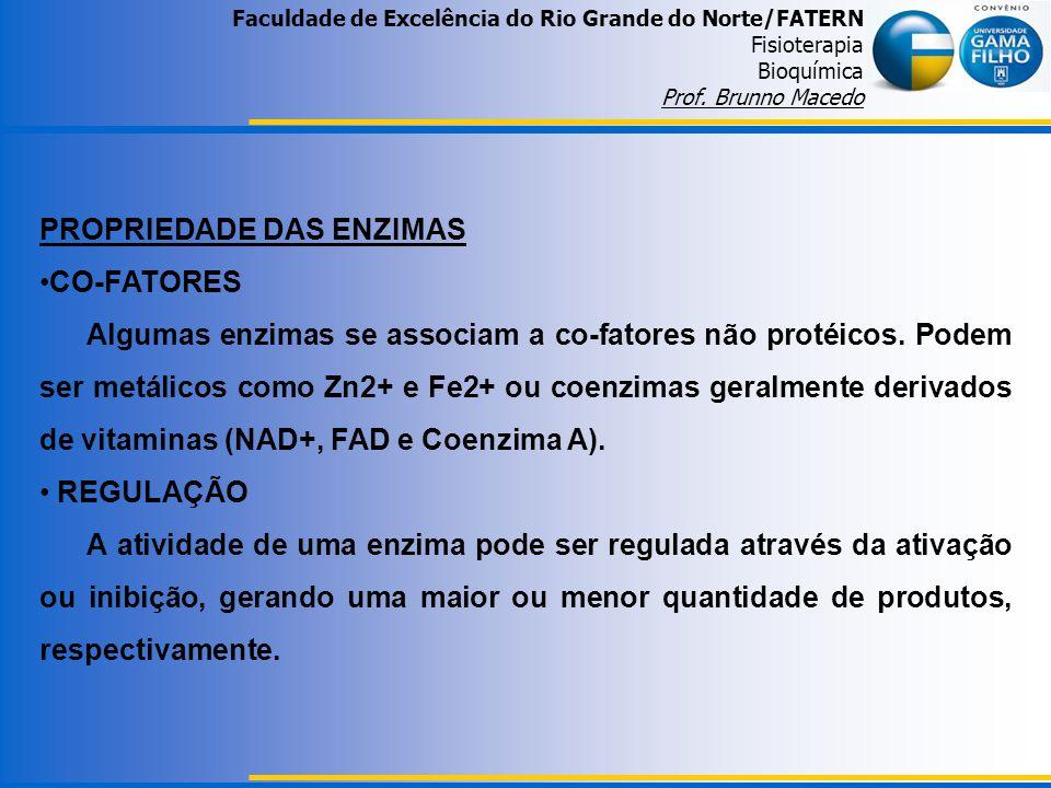 Faculdade de Excelência do Rio Grande do Norte/FATERN Fisioterapia Bioquímica Prof. Brunno Macedo PROPRIEDADE DAS ENZIMAS CO-FATORES Algumas enzimas s