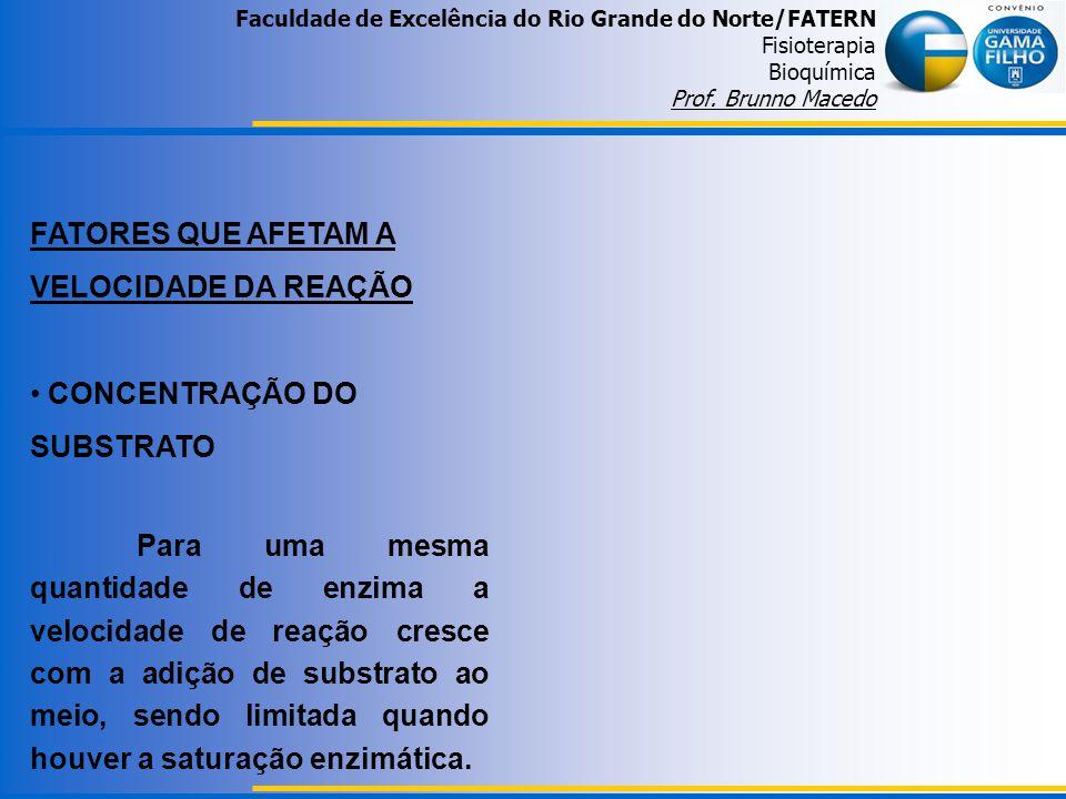 Faculdade de Excelência do Rio Grande do Norte/FATERN Fisioterapia Bioquímica Prof. Brunno Macedo FATORES QUE AFETAM A VELOCIDADE DA REAÇÃO CONCENTRAÇ